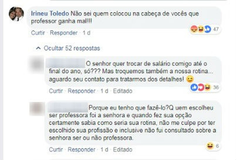 Irineu Toledo entrou em discussão com internautas — Foto: Reprodução/Facebook