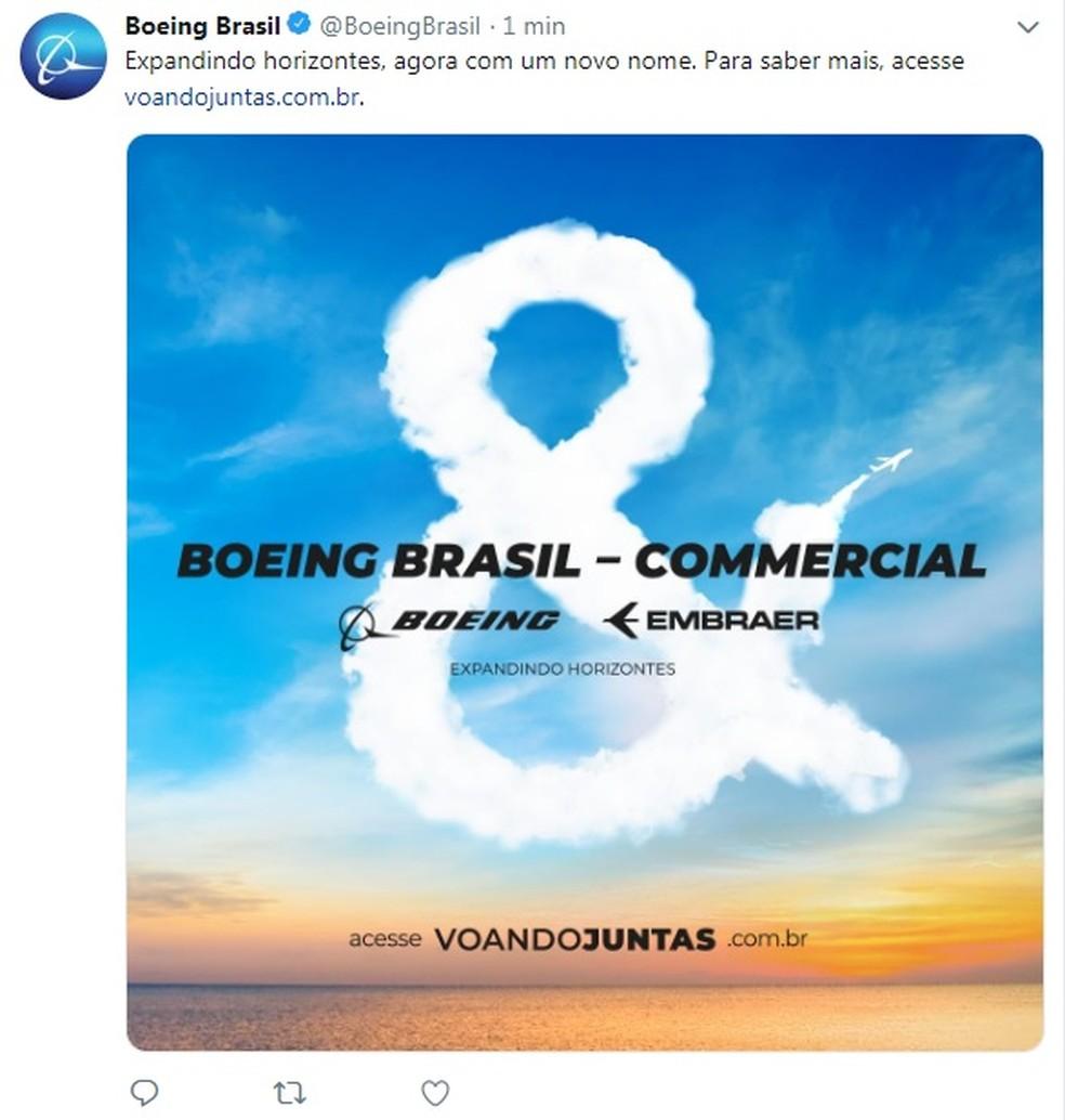 Boeing Brasil - Commercial é como vai ser chamada a nova empresa em parceria com a Embraer — Foto: Reprodução/Twitter