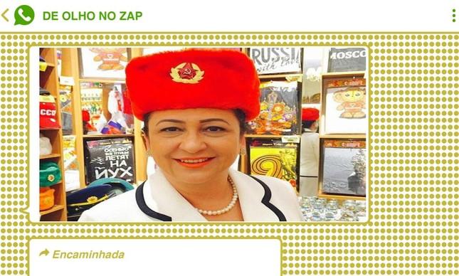 Após Araújo acusar Kátia Abreu (PP-TO) de fazer lobby para a China na agenda do 5G, foto antiga da senadora usando uma ushanka, um símbolo soviético, circulou em grupos bolsonaristas em tom de ironia