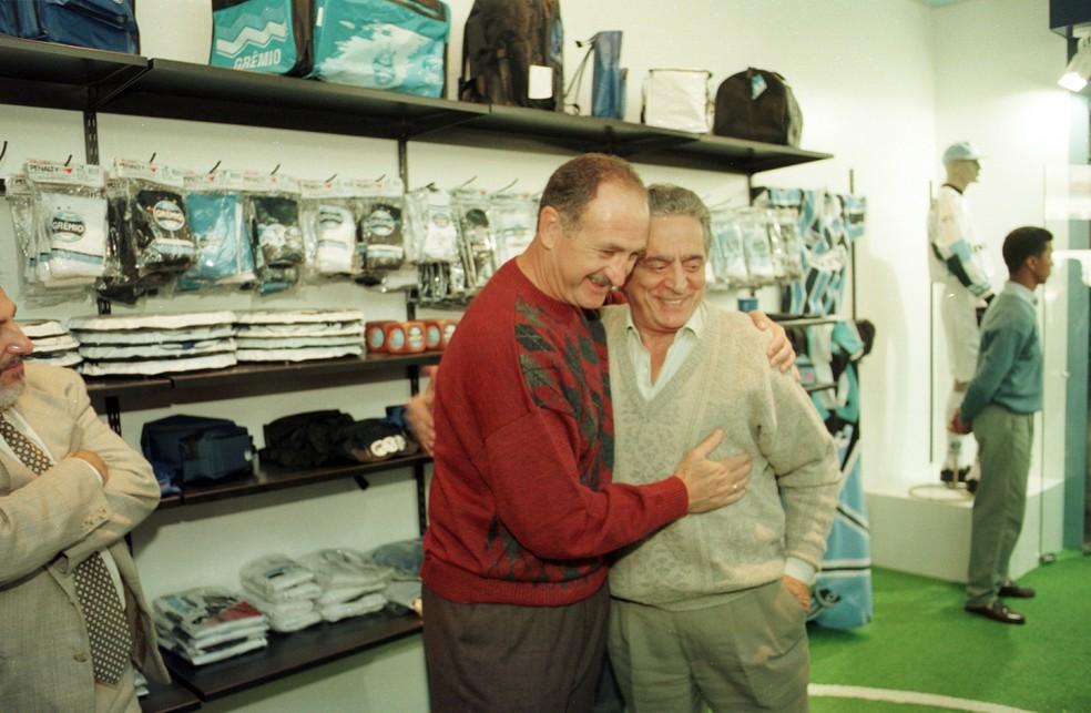 Encontro entre Felipão e Fábio Koff em 1997 (Foto: José Doval/Agência RBS)