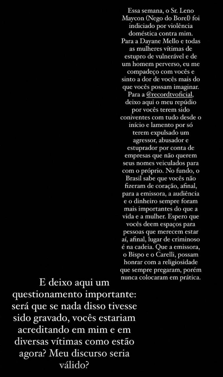 Duda Reis fala sobre expulsão de Nego do Borel (Foto: Instagram)