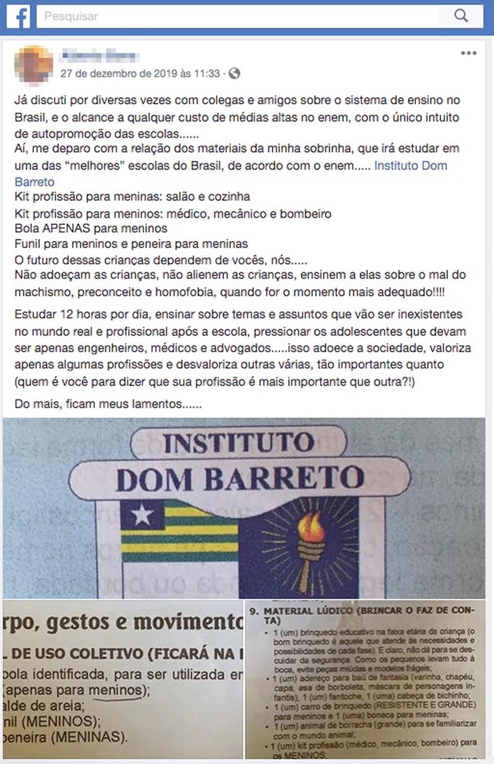 Tio de aluna fez publicação demonstrando indignação com a lista de material escolar — Foto: Reprodução/Facebook