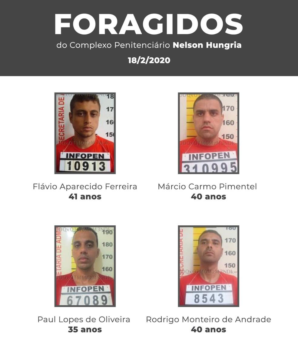 Foragidos da Penitenciária Nelson Hungria — Foto: Secretaria de Justiça e Segurança Pública/Divulgação