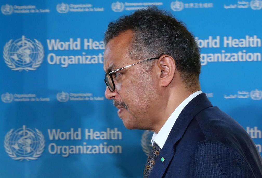 Tedros Adhanom Ghebreyesus, diretor-geral da OMS, durante evento nesta quinta-feira, 25 de junho — Foto: Denis Balibouse/Reuters