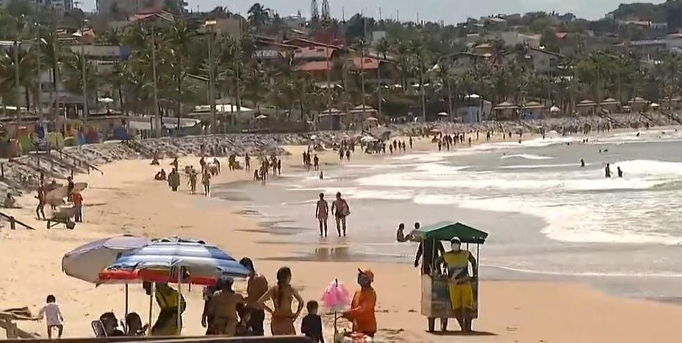 Ponta Negra nesta quarta-feira (21) em Natal — Foto: Reprodução/Inter TV Cabugi