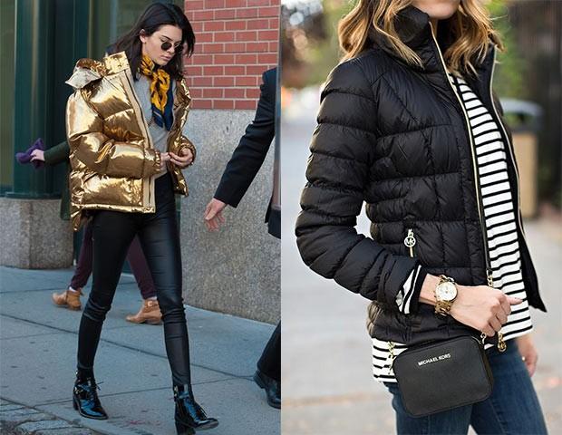 As jaquetas puffer de cores metálicas criam um look futurista (Foto: Pinterest)
