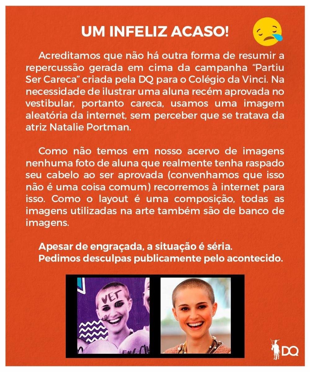 O pedido de desculpas da agência publicitária que utilizou a foto de Natalie Portman no anúncio (Foto: Divulgação)