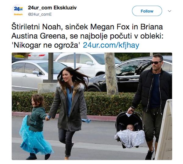 Um flagrante feito por paparazzis de Megan Fox com o filho Noah e o marido da atriz, o ator Brian Austin Green, carregando o caçula da família (Foto: Twitter)