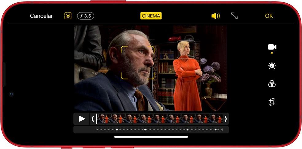 Modo cinema permite personalizações profissionais nos vídeos do iPhone 13 Mini — Foto: Divulgação/Apple