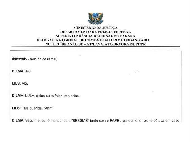 Documento mostra a conversa entre Lula e Dilma (Foto: Reprodução)