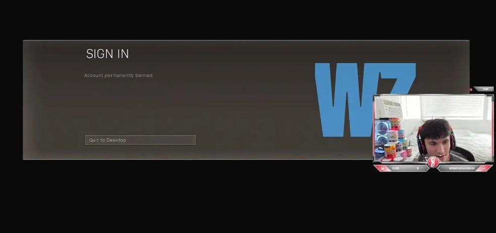 Stukawaki foi banido durante torneio de Call of Duty: Warzone — Foto: Reprodução/Stukawaki Twitch