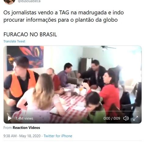 Internauta se assusta ao ver hashtag 'Furacão no Brasil' (Foto: Reprodução Twitter)