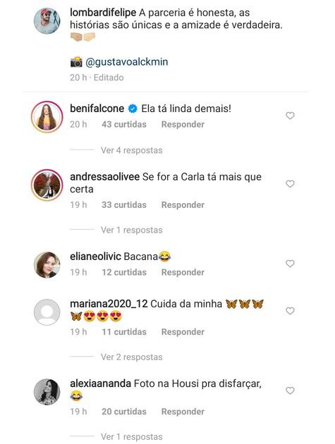 Internautas cogitam volta de Carla Diaz e Felipe Lombardi (Foto: Reprodução)