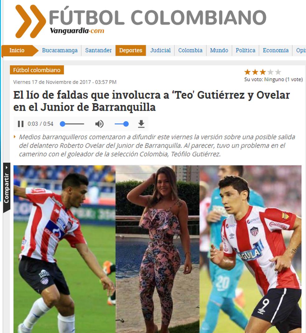 Site colombiano repercute escândalo (Foto: Reprodução/Internet)