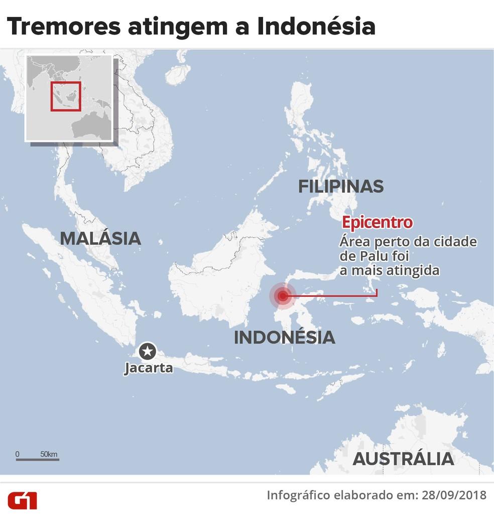 Mapa mostra área tingida por terremotos e tsunami na Indonésia — Foto: Infografia: Karina Almeida