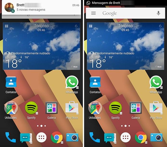 Android Lollipop pode ter as notificações modificadas para o padrão do KitKat com o HeadsOff (Foto: Reprodução/Elson de Souza)