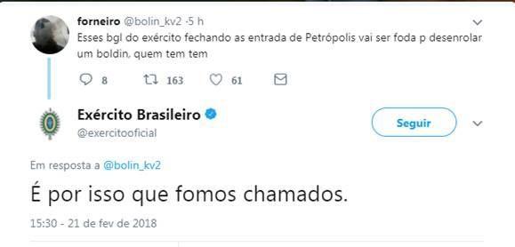 Comunicação do Exército responde no Twitter a suposto usuário de maconha (Foto: Divulgação)