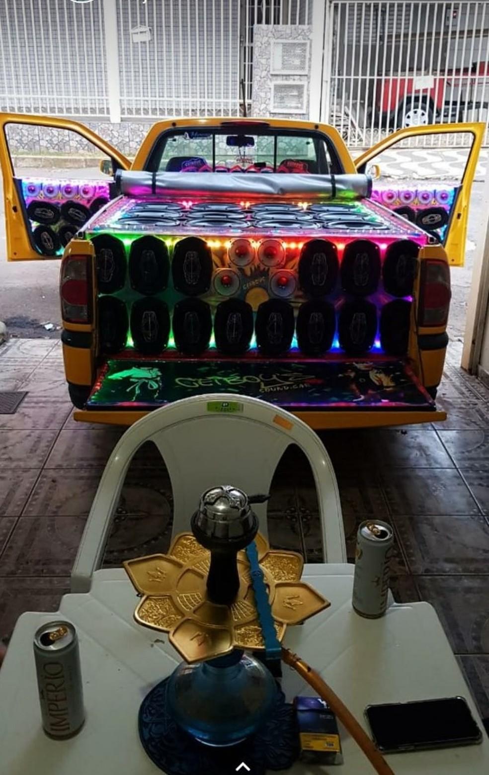 Veículo de PM morto no DF é equipado com som automotivo  — Foto: Whatsapp/Reprodução
