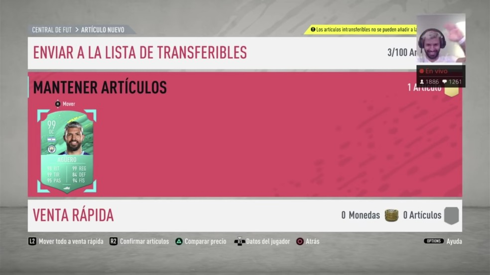 Aguero celebrates Pro Player card received at FIFA 20;  all attributes of the Argentine are 99 - Photo: Reproduction