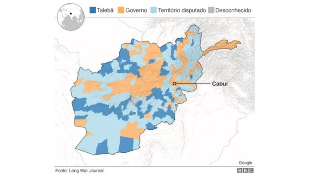 Divisão geopolítica do Afeganistão — Foto: BBC