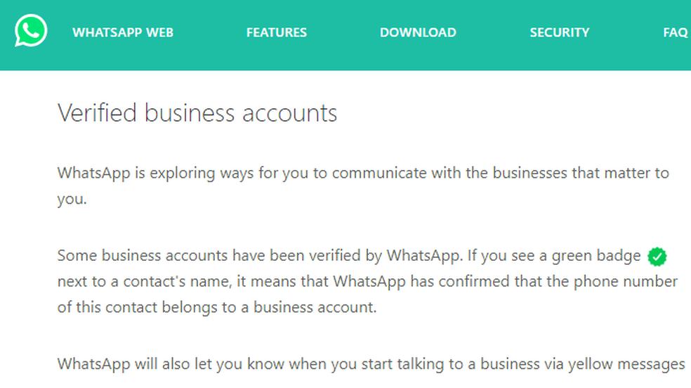 WhatsApp anuncia contas empresariais verificadas (Foto: Reprodução/WhatsApp)