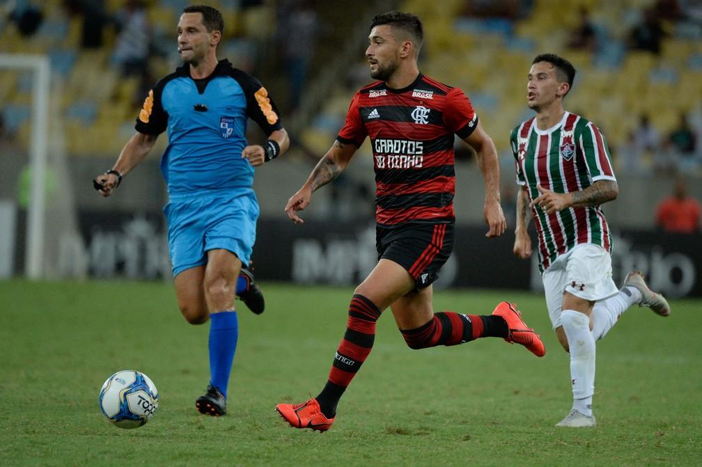 Arrascaeta entrou no segundo tempo do Fla-Flu e falhou no gol sofrido — Foto: Alexandre Vidal/Flamengo
