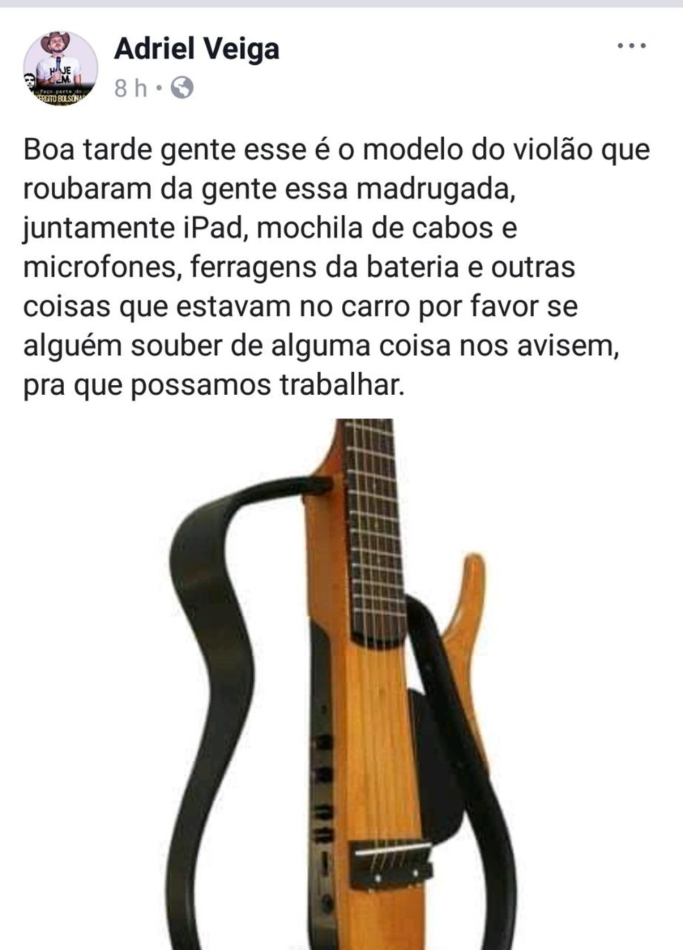 Músico postou modelo do violão que foi roubado — Foto: Reprodução/Facebook