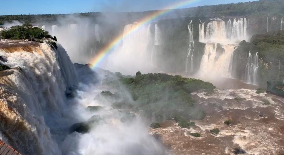 Parque Nacional do Iguaçu foi reaberto ao público no dia 4 de agosto, com medidas restritivas, em Foz do Iguaçu — Foto: Marcos Landim/RPC