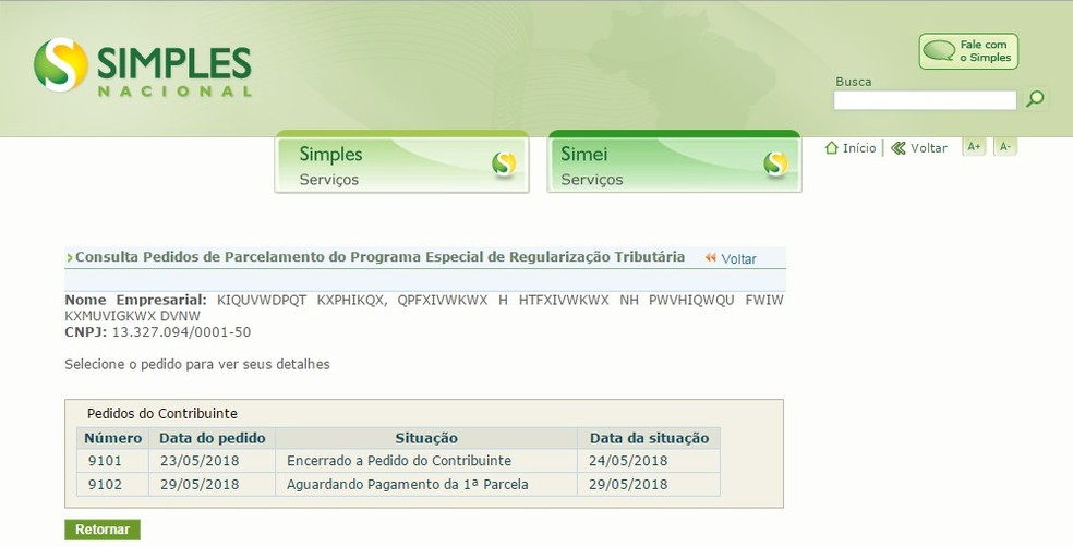Tela de adesão ao Refis das PMEs no portal do Simples Nacional (Foto: Divulgação/Receita Federal)