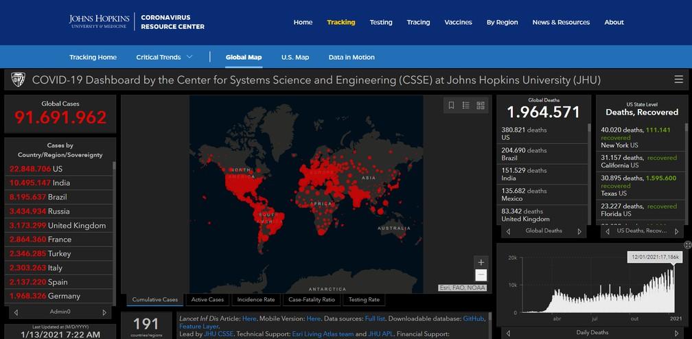 Número de casos e mortes por Covid-19 em todo o mundo segundo a Johns Hopkins — Foto: Reprodução/jhu.edu