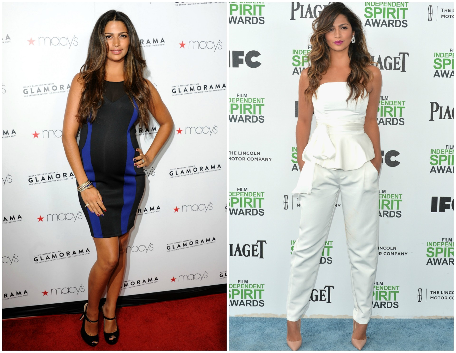 Camila Alves em setembro de 2012 (à esq.) e em março de 2014. Ela deu à luz o terceiro filho, Livingston, em 28 de dezembro de 2012. (Foto: Getty Images)