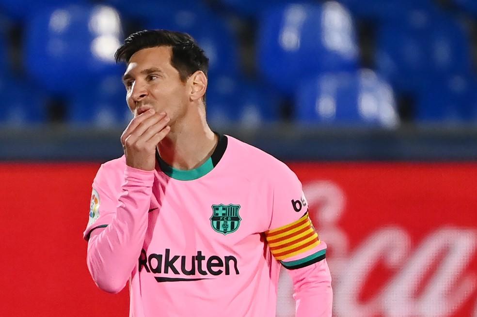 Messi lamenta derrota para o Getafe: argentino não tem conseguido decidir jogos a favor do Barcelona — Foto: AFP