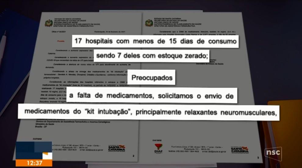 Governo de SC pede reforço ao Ministério da Saúde por risco de faltar remédios de 'kit intubação'
