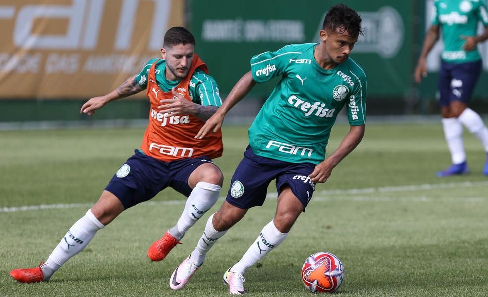 Zé Rafael e Gustavo Scarpa, durante treino do Palmeiras na Academia — Foto: Cesar Greco