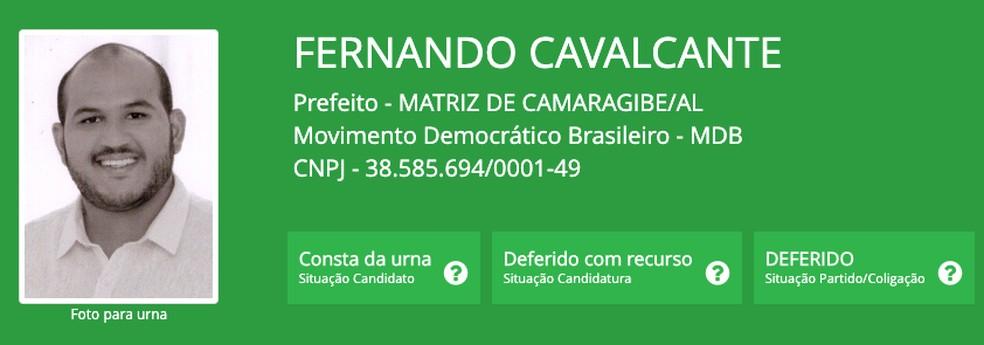 Fernando Cavalcante (MDB), prefeito eleito em Matriz de Camaragibe (AL), um dos três mais jovens do Brasil — Foto: Reprodução