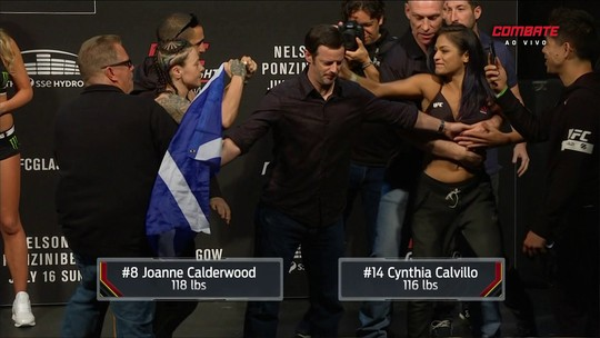 Calderwood fica acima do peso e quase briga com Calvillo na pesagem