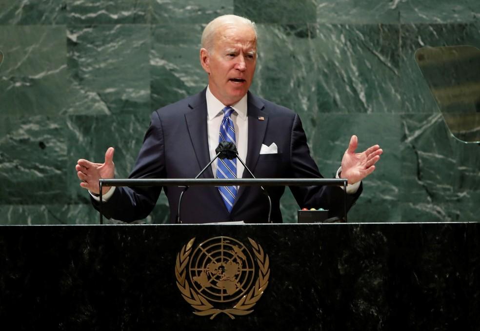 Biden discursa na ONU — Foto: Eduardo Munoz/Reuters