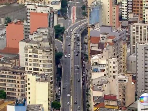 O Elevado Costa e Silva, o Minhocão (Foto: TV Globo/Reprodução)