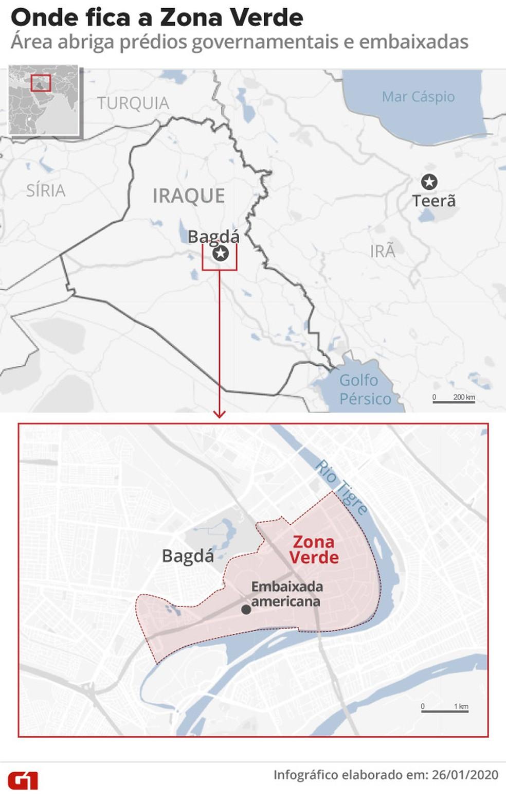 Zona Verde de Bagdá — Foto: Rodrigo Cunha/G1