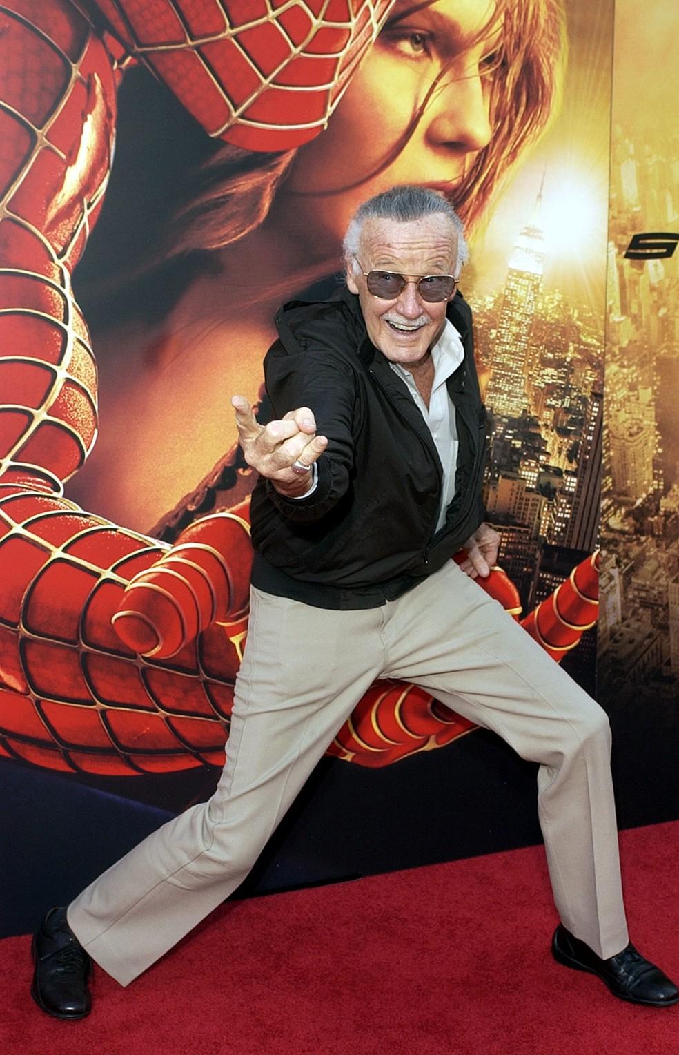 Stan Lee no lançamento do filme 'Homem Aranha 2', em 2004 — Foto: AP Photo/Matt Sayles