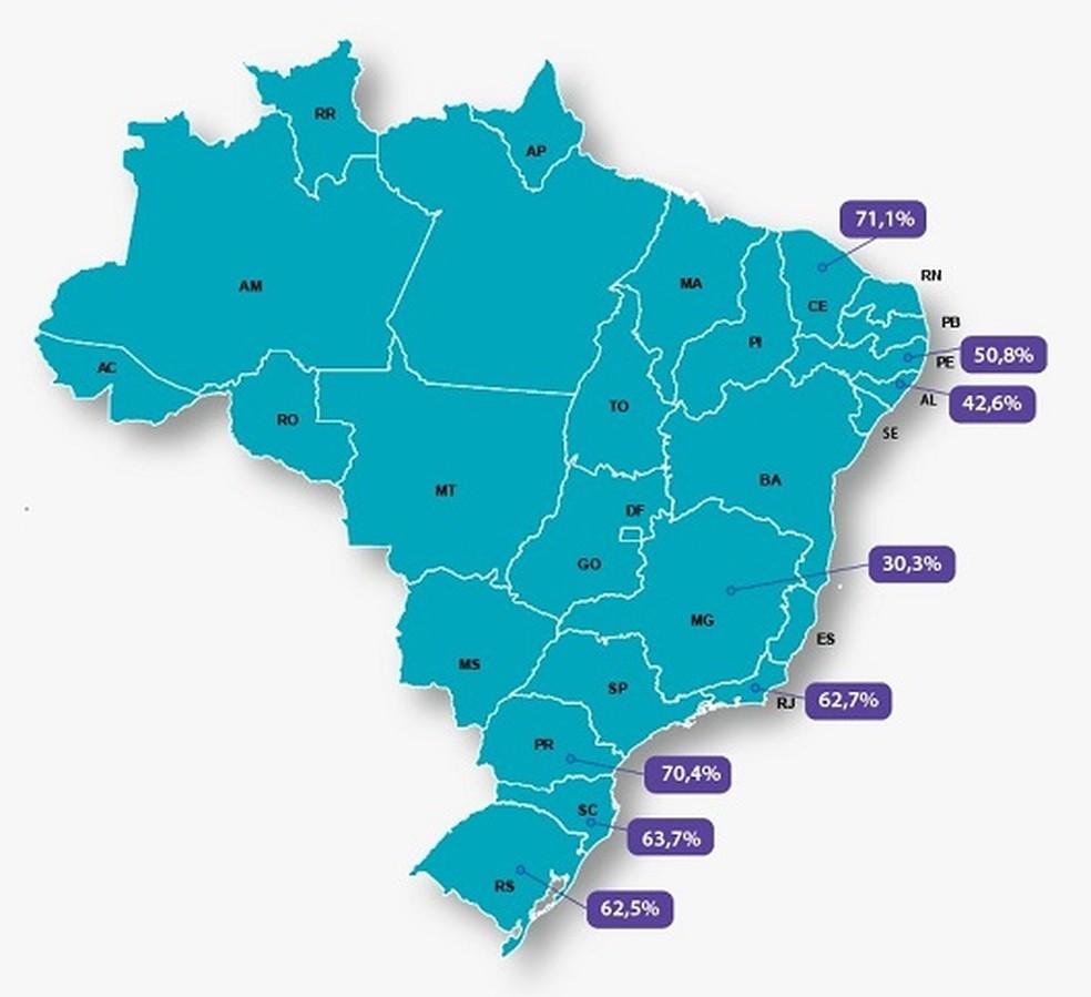Prevalência da mutação analisada pela Fiocruz em oito estados. — Foto: Divulgação