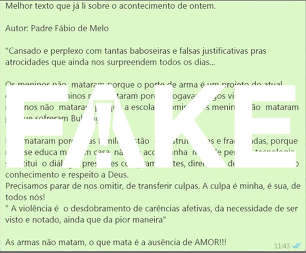 Texto #FAKE atribuído ao Padre Fábio de Melo — Foto:  G1