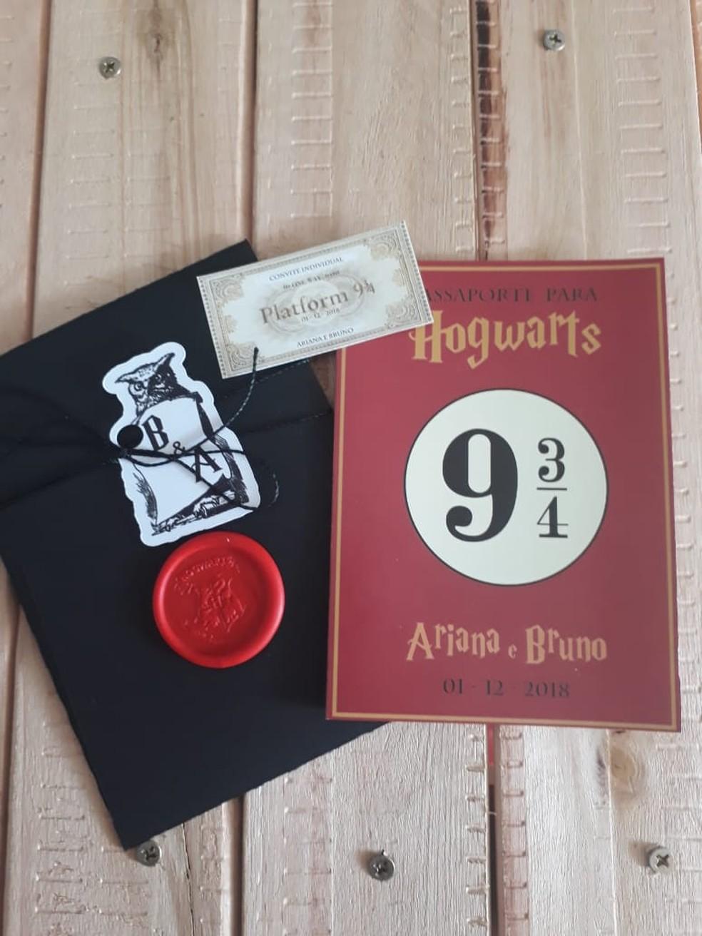 Os convidados receberam o convite com um passaporte para a Plataforma 9 3/4. — Foto: Arquivo pessoal