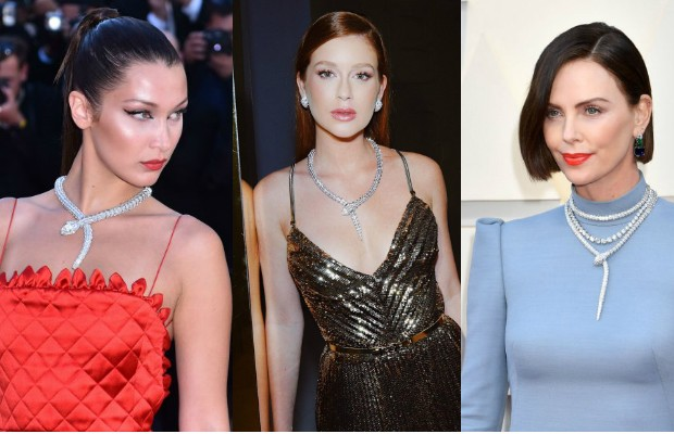Bella Hadid, Marina Ruy Barbosa e Charlize Theron usam o mesmo colar (Foto: Getty Images / Instagram)