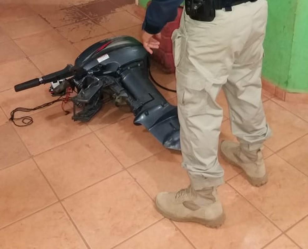 Motor apreendido foi avaliado, segundo a PRF em R$10 mil (Foto: PRF/ Divulgação )