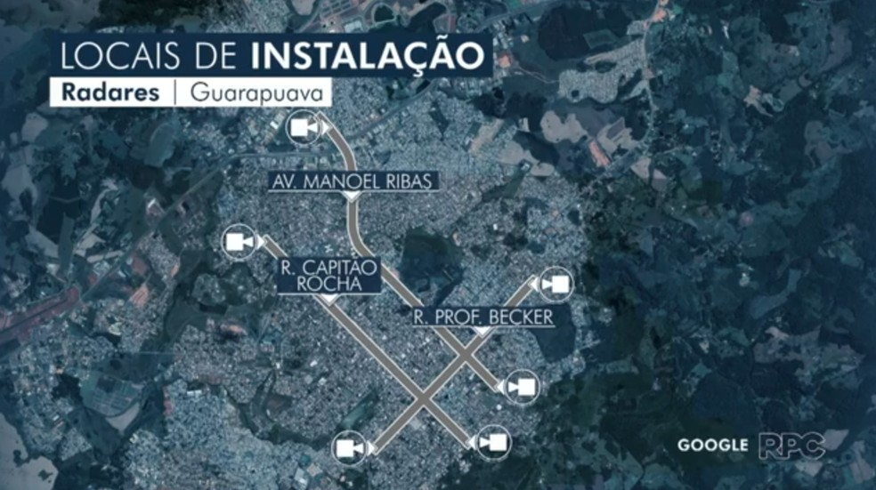 Equipamentos estão na Avenida Manoel Ribas, Rua Capitão Rocha e Rua Professor Becker — Foto: Reprodução/RPC