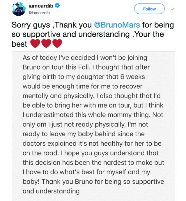 O post de Cardi B anunciando sua ausência na turnê de Bruno Mars (Foto: Twitter)