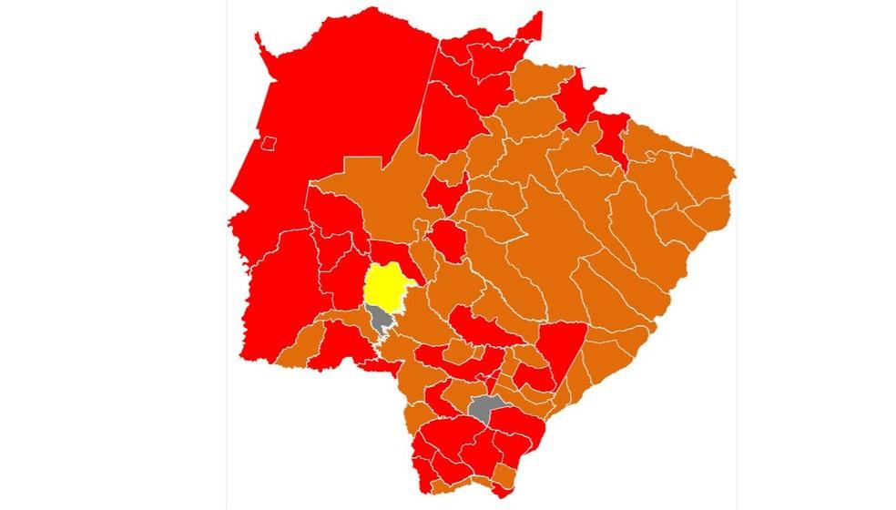 Novo mapa de classificação de risco para a pandemia do programa Prosseguir do governo de MS — Foto: Reprodução