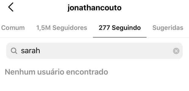 Jonathan Couto deixa de seguir Sarah Poncio (Foto: Reprodução/Instagram)