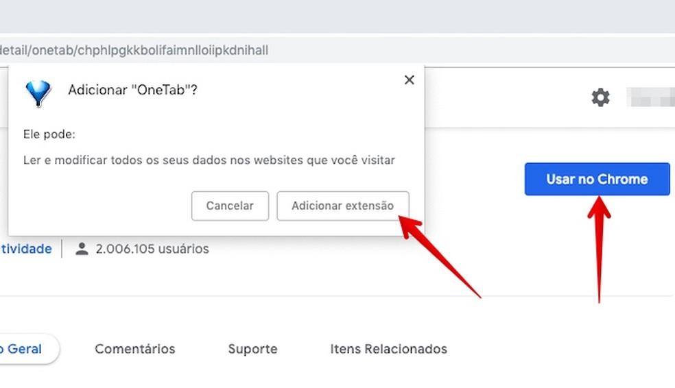 Instale a extensão no navegador — Foto: Reprodução/Helito Beggiora